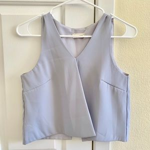 Aritzia Blue Grey Cutout Blouse Top